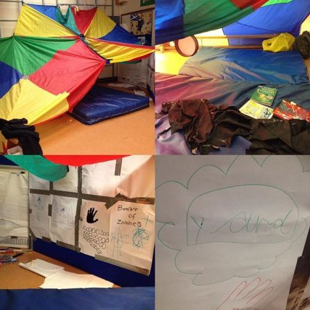 """A montage of four photographs of a parachute den play space. The first shows the den from a distance. You can see it is built from two colourful parachutes hung together creating a high sloping ceiling. A comfy blue mat pokes out from the den. The second shows the inside. There is a pile of story and fact books on the mat. Loose pieces of fabric a piled up and a small drum hangs from the ceiling. The third shows a upright board within the den which has been covered in paper for drawing. Assorted coloured pens lie on the floor and you can see there are lots of drawings that have been done including one which says """"beware of zombies!"""". The fourth is a close up of a drawing which says """"yard"""" in a blue cloud with red hand drawn underneath"""