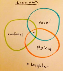 ". A drawing of a Venn diagram with three circles. The title is ""Expression"". The circles are labelled ""Emotional"", ""vocal"" and ""physical"". The middle of the diagram where all the circles meet is labelled ""laughter""."