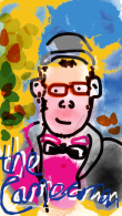 "computer painted image of a character wearing a bright pink shirt, black bow tie and coat, they have glasses, a wee smile and cap. The background is a colourful mix of yellows, greens and blues. ""the cameraman"" is scrawled across the bottom of the image."