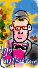 """computer painted image of a character wearing a bright pink shirt, black bow tie and coat, they have glasses, a wee smile and cap. The background is a colourful mix of yellows, greens and blues. """"the cameraman"""" is scrawled across the bottom of the image."""